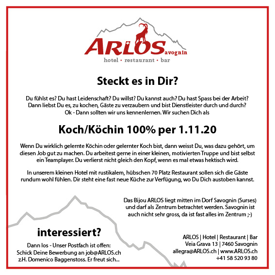 Job Koch 100% Savognin Hotel Restaruant Graubünden